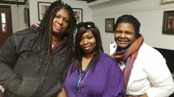 Spencer Technology Academy parents (from left) Tanisha Taylor and Yolanda Finley with Chef Monica Hayes-Jones